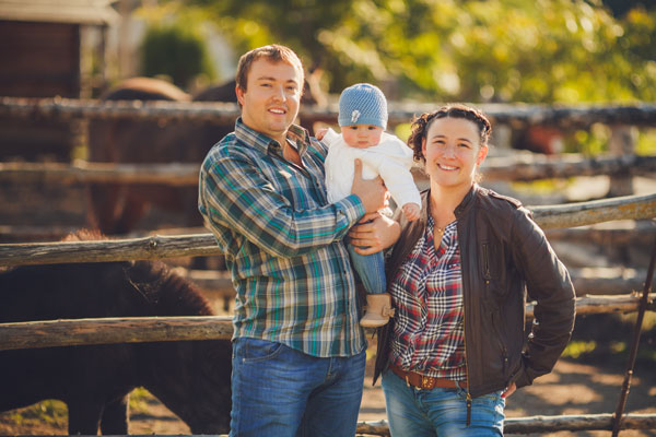young farmer and his family