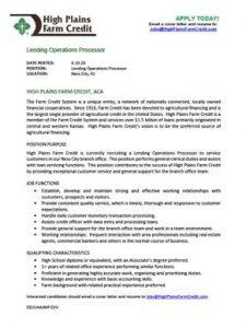 Lending Operations Processor job description