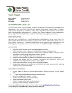 We are currently hiring a Credit Analyst position in our Dodge City office.